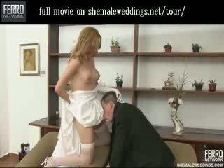 Skaistas shemale līgava skūpstošie un feeding viņai beefy meat līdz viņai vīrs