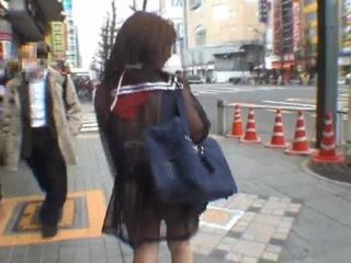 Mikan astonishing aziāti skolniece enjoys publisks