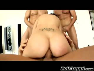 Evil Angel: Racer chick Black Angelica gets double penetration and three cocks