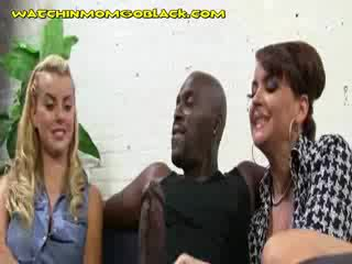 Hot blondie mommy suck her ebony lover
