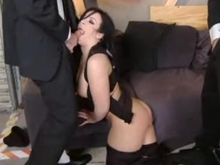 brunette, oral sex, double penetration
