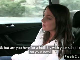 Cute brunette student fuck in fake taxi