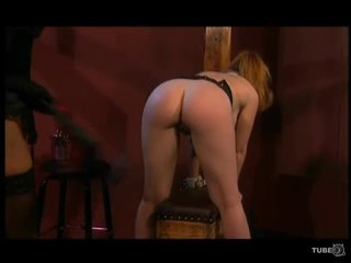 brunette video-, ideaal leer video-, geschoren