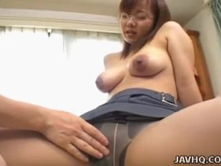 Busty japanese office girl eri yukawa blows and gets banged