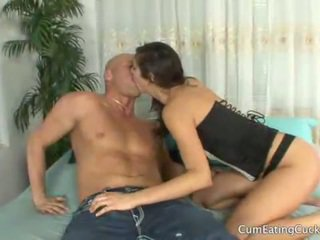 Annas husband licks her lovers cum off her face