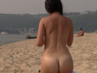 plezier strand neuken, kijken publiek vid, heet nudist