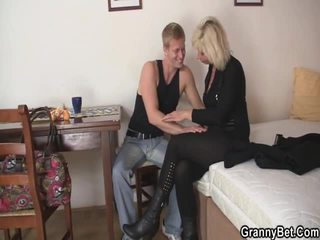 Aged Blonde Takes It Doggy Position