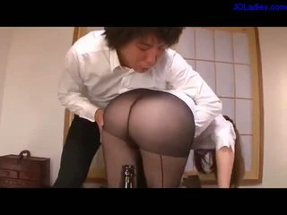 Office Lady In Pantyhose Getting Her Legs Licked Pussy Licked And Fingered Arms Tied Sucking Guy On The Desk In The Bedroom