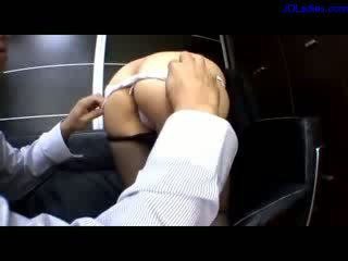 Busty Office Lady In Pantyhose Fingered On The Couch