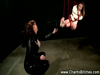 Bound worthless slave tickle punishment from her master