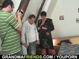 old, grandma, granny, threesome