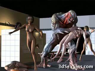 Aliens bang 3de dekleta!