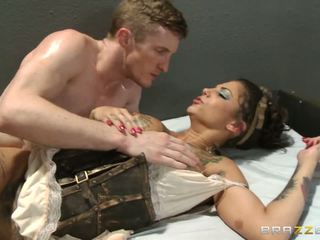 Chick giving a first-class blowjob and getting nailed in all possible holes