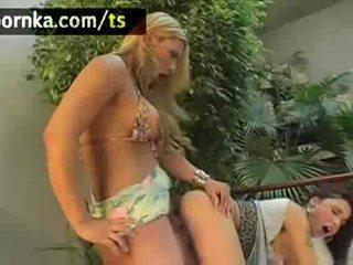 Titty ladyboy drills a girl