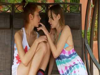 Two outdoors Lezboes testing blue Dildo