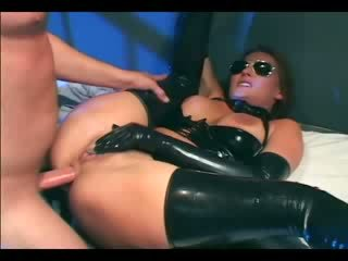 Busty female cop in uniform and latex gloves deepthroating and fucking