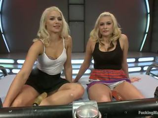 Pair Blonde Bombshells Have Their Tunnels Made Love By A Screwing Machine