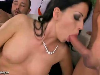Sexy Brunette Fucked Two Cocks