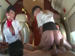 Stewardesses राइडिंग एक customers कॉक