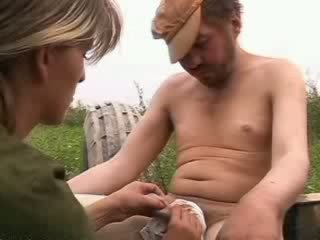 Sexy bitch sucks homeless hobo boner