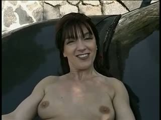 Mature brunette gets her pussy spread wide open then fucks