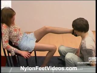 Orsi And Marcus Raunchy Pantyhose Footsex