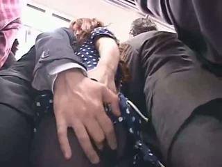 Officelady χουφτωμένος/η σε ένα τρένο