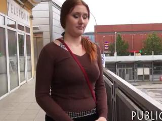 Massive boobs amateur redhead Eurobabe nailed for cash