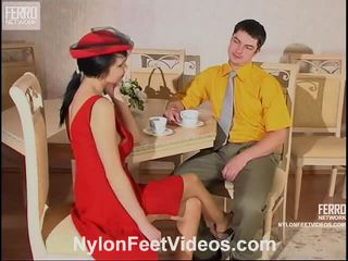 Gertie And Adam Hot Pantyhose Feet Action