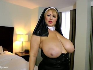 Erotic Old Heavy Samantha 38 Dresses Up As Nun Playthings All Over Gash