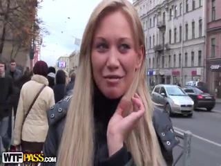 brunette, public sex, blowjob, naked in the street