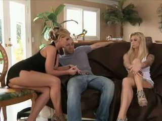 Brooke Biggs and Phoenix Marie jointly jizz a solo fucker with tongue and twat