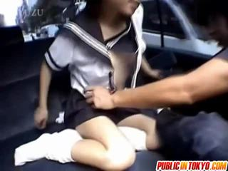 Sexy japanese school babe gets fucked in car
