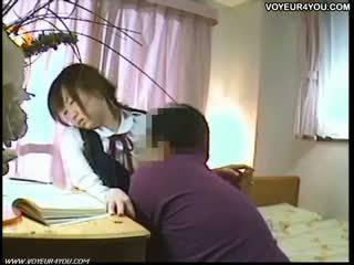 Japonais étudiant oral sexe tuteur
