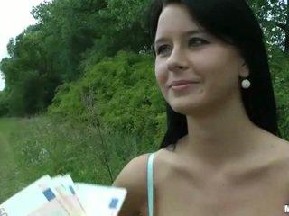 Busty Czech girl Mia paid for public sex