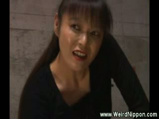 Asian girl made to suck cock by her femdom master