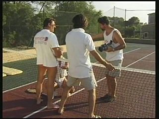 Gorgeous tennis player gets her holes screwed by three