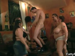 Fatty Pub: Hot group action with skinny dudes and big women