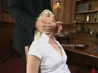 blondie angelic sex slave fucked in extreme bondage fetish sex by pair of nasty masters