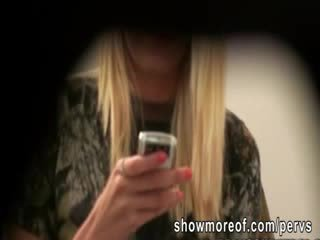 Lucky peeping tom caught a blondie Ex-girlfriend fucking with her lover inside the Bathroom