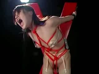 Worthless asian slave gets vibrator in her puss