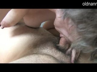 Young guy licking old hairy pussy of grandma Video