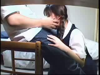 japanse, vol geneukt scène, zien schoolmeisje