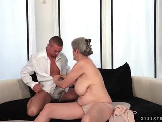 Busty grandma enjoys hot sex with her boyfriend