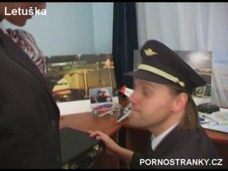 Air hostess in uniform fuck pilot
