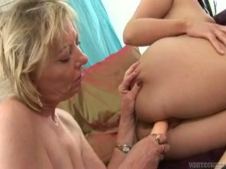 Naughty Sleaze Beaver Licks Grand Ma's Gash For The First Ever Time!
