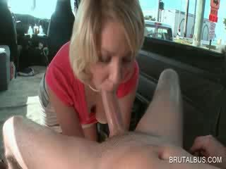 Blonde temptress giving blowjob in sex bus
