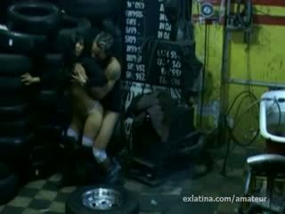 Latin amateur porn Ex screws mechanic on hidden security camera