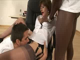 Mature stocking interracial blowjob