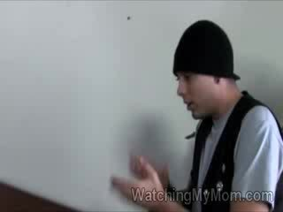 Stud watches his gorgeous mom getting pumped hard by black schlong